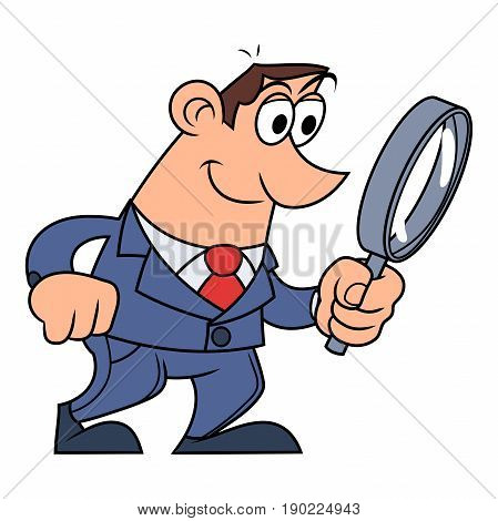 Illustration of the businessman looking through the loupe