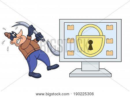 Illustration of the computer thief has broken his crowbar