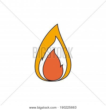 color sections silhouette of small flame with thick contour vector illustration