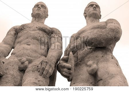 BERLIN-GERMANY-MAY 23: Berlin's Olympia Stadium sculptures of athletes built for the 1936 Berlin Olympics by Sculptor Karl Abiker on May 23 2010, Berlin Germany