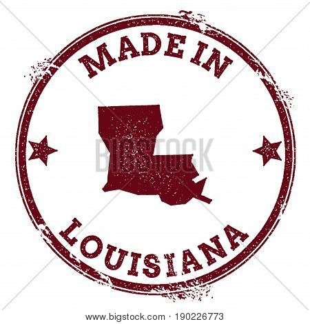 Louisiana Vector Seal. Vintage Usa State Map Stamp. Grunge Rubber Stamp With Made In Louisiana Text