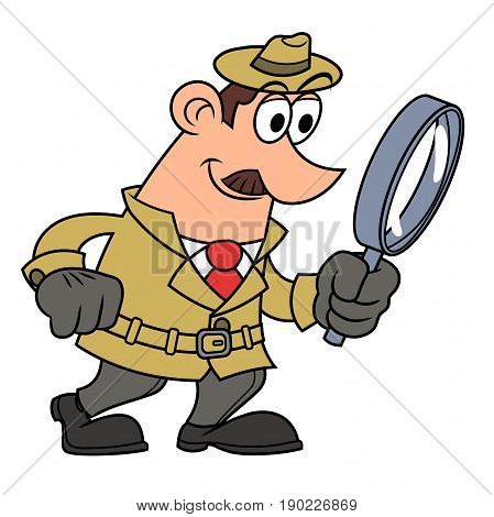 Illustration of the detective looking through the loupe.