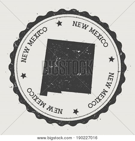 New Mexico Vector Sticker. Hipster Round Rubber Stamp With Us State Map. Vintage Passport Stamp With