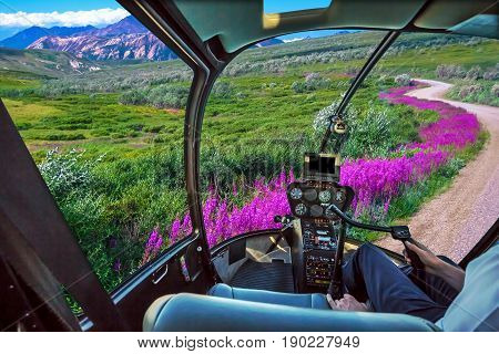 Spectacular helicopter flight from control cockpit cabin on Denali National Park, Alaska, United States. Scenic flight in popular National Park. Summer season.