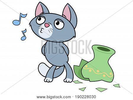 Illustration of the little kitten has broken a vase