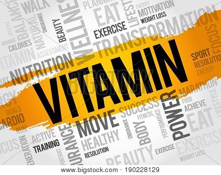 VITAMIN word cloud , background health concept