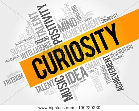 Curiosity word cloud collage, business concept background