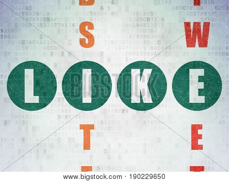Social media concept: Painted green word Like in solving Crossword Puzzle on Digital Data Paper background