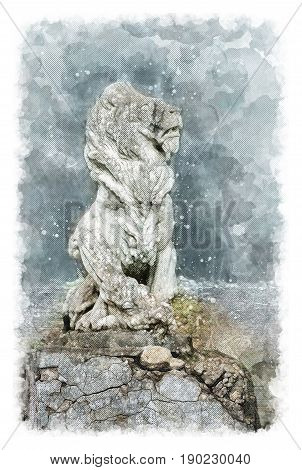 Architectural sketch Sculpture of a lion in an old noble manor. Selo Ivanovskoye, Russia.