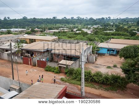 A view of an African town of Daloa, Ivory Coast. July 2013.