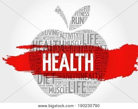 Health apple word cloud collage , concept background