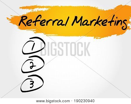 Referral Marketing blank list , business concept