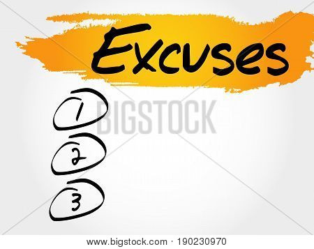 Excuses blank list , business concept background