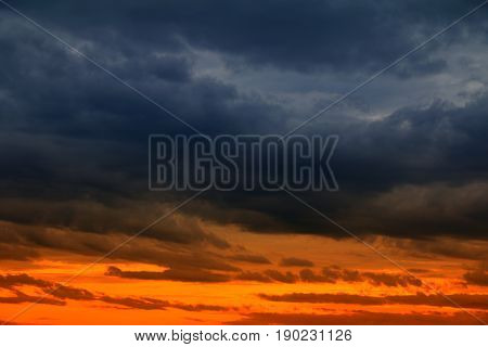 sunset beautiful and cloud storm in sky dark color