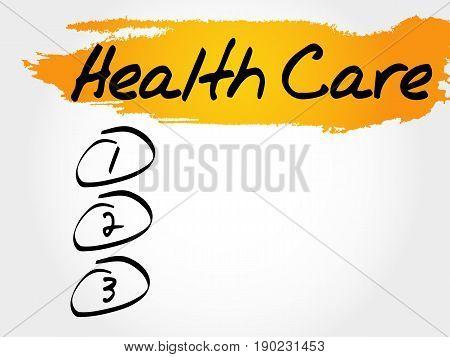 Health care blank list , health concept