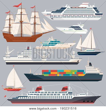 Sea transportation. Vector illustrations of ships and different boats. Flat style pictures, Collection of ships boat and cruise ocean travel