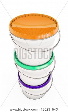 Paint can.Isolated on white.3d rendered. Varnish, Jar, Lid, Pot, Commodity, Trade, Paints, Foodstuff, Canister