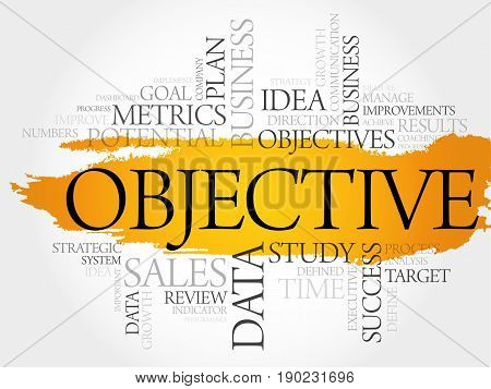 Objective word cloud collage , business concept