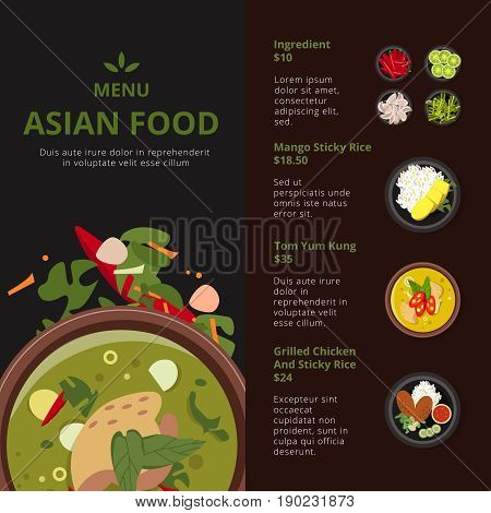 Design template of asian food menu. Illustrations with place for your text. Vector thai products. Asian menu food for restaurant card