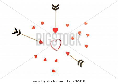 Group Of Red Hearts And Amour Arrows Isolated On White