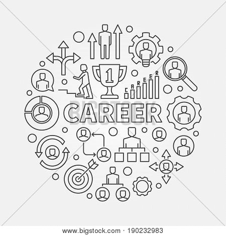 Modern career illustration - vector outline concept symbol made with word CAREER and business icons