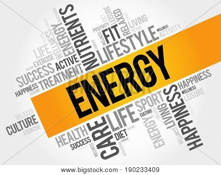 ENERGY word cloud collage background health concept