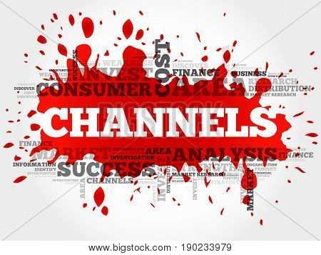 Channels word cloud collage, business concept background