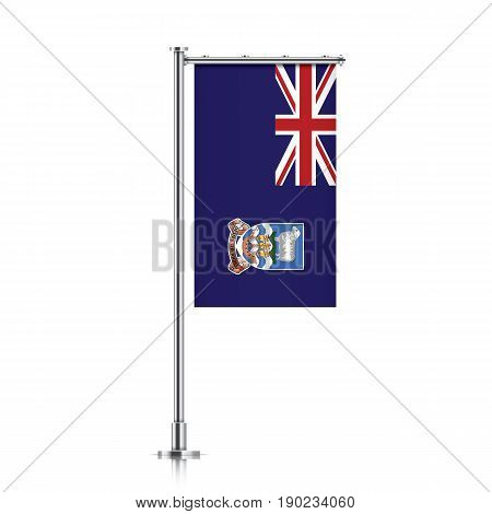 Falkland Islands vector banner flag hanging on a silver metallic pole. Falkland Islands vertical flag template isolated on a white background.
