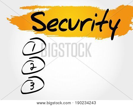 SECURITY blank list , business concept background