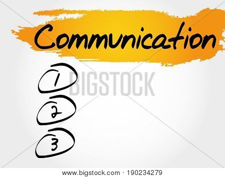 COMMUNICATION blank list , business concept background