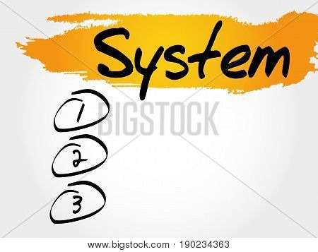 SYSTEM blank list , business concept background
