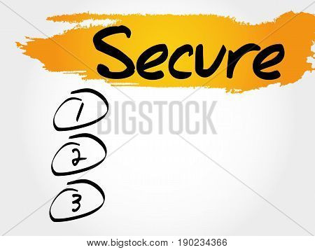SECURE blank list , business concept background