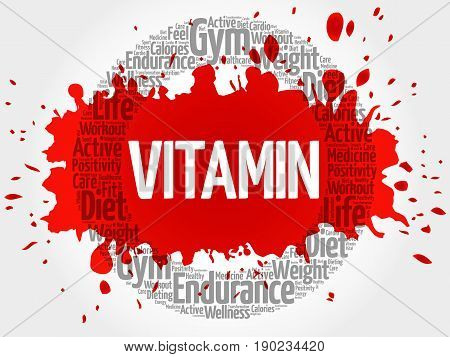 Vitamin Circle Stamp Word Cloud