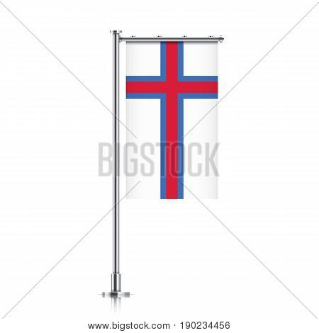 Faroe Islands vector banner flag hanging on a silver metallic pole. Faroe Islands vertical flag template isolated on a white background.