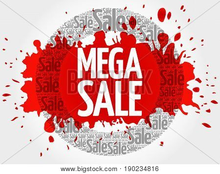 Mega Sale Circle Stamp Word Cloud