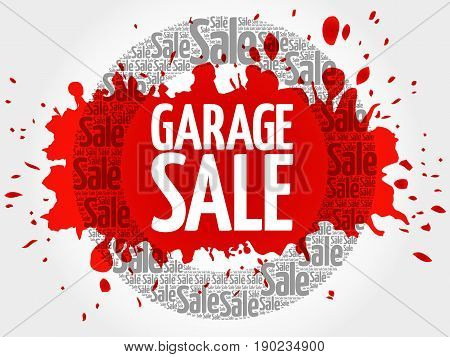 Garage Sale Stamp Vector Words Cloud