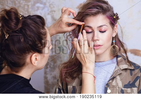 Make-up Artist And Model At Work