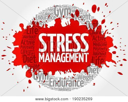 Stress Management circle stamp word cloud health concept