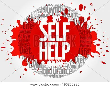 Self Help circle stamp word cloud health concept