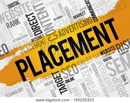 PLACEMENT word cloud collage, business concept background