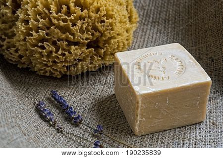 Handmade olive oil soap with an inscription in greek language meaning