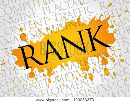 Rank word cloud collage, business concept background