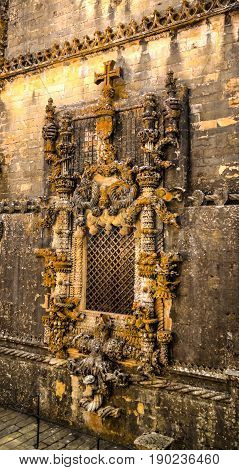 Wall and great manueline window of Templar church of the Convent of the Order of Christ in Tomar Portugal