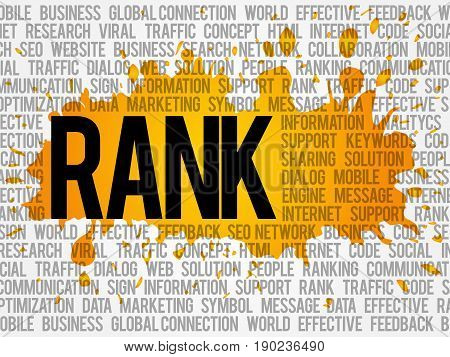 Rank word cloud collage business concept background