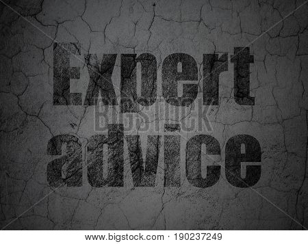 Law concept: Black Expert Advice on grunge textured concrete wall background