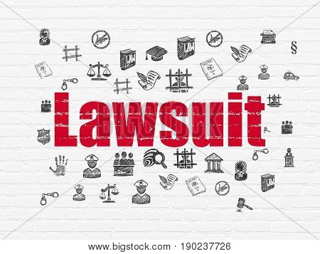 Law concept: Painted red text Lawsuit on White Brick wall background with  Hand Drawn Law Icons