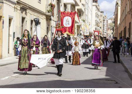 CAGLIARI, ITALY - MAY 1, 2016: 360 Festival of Sant'Efisio - parade of the folk group of Pula - Sardinia