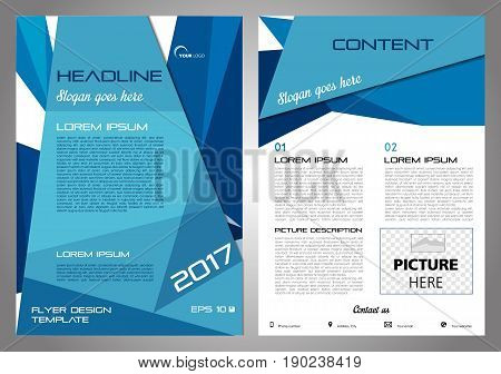 Vector Flyer, Corporate Business, Annual Report, Brochure Design And Cover Presentation With Blue Tr
