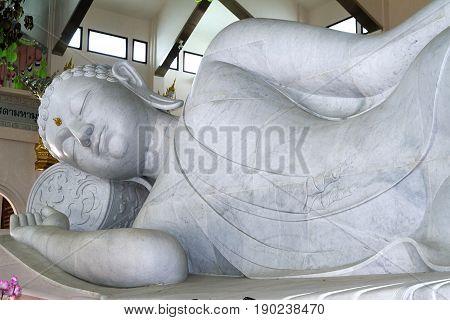 white marble Buddha spirituality temple udon thani indoors