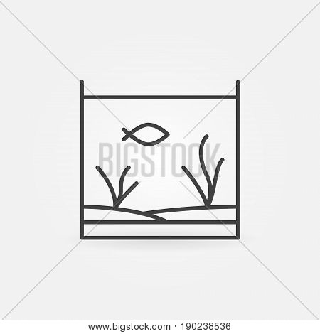 Aquarium with fish line icon - vector minimal fish tank concept symbol or logo element in outline style